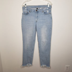 H&M Divided Frayed Distressed Button Fly Jeans